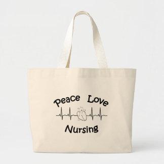 Bolsa Tote Grande Amor da paz que nutre a sacola enorme
