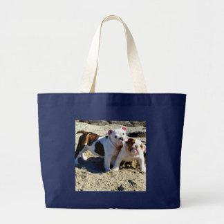 Bolsa Tote Grande Amor de filhote de cachorro inglês dos buldogues!