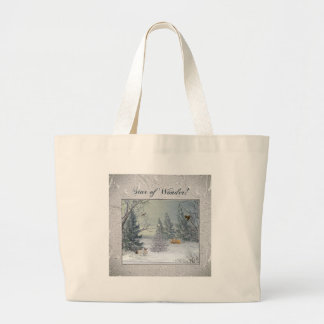 Bolsa Tote Grande Animais na floresta do inverno, árvore com