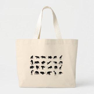 Bolsa Tote Grande Animal africano do safari da silhueta
