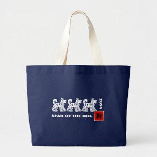 Bolsa Tote Grande Ano chinês das sacolas do costume do cão
