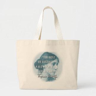 Bolsa Tote Grande Anónimo era um azul das citações de Virgínia Woolf