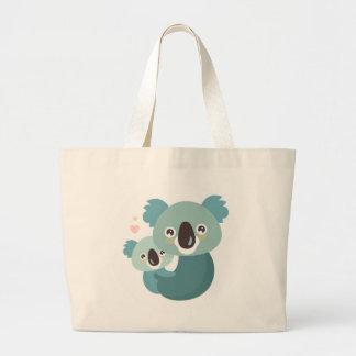 Bolsa Tote Grande Aperto doce da mãe e do bebê do koala dos desenhos