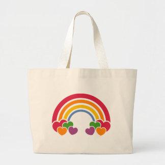 Bolsa Tote Grande arco-íris do anos 80 & saco dos corações