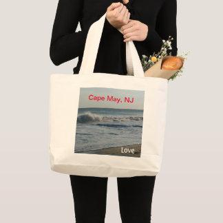Bolsa Tote Grande Areia do oceano do amor de Cape May New-jersey