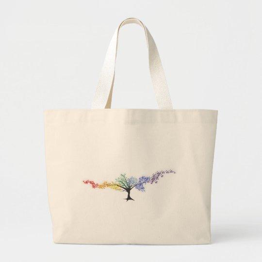 Bolsa Tote Grande Árvore de borboletas coloridas