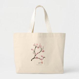 Bolsa Tote Grande árvore de sakura e fernandes tony dos pássaros
