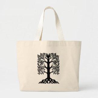 Bolsa Tote Grande Árvore do coração com raizes