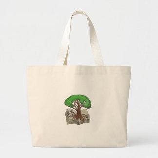 Bolsa Tote Grande Árvore enraizada no tatuagem do livro