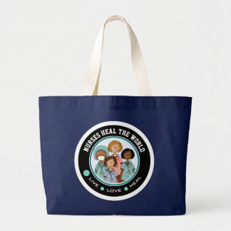 Bolsa Tote Grande As enfermeiras curam o mundo. Sacolas da