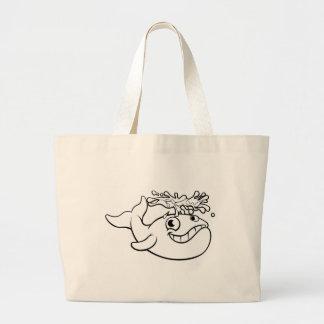 Bolsa Tote Grande Baleia dos desenhos animados