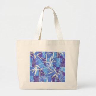 Bolsa Tote Grande Bambu no teste padrão geométrico azul