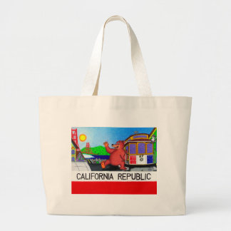 Bolsa Tote Grande Bandeira 2 do urso de San Francisco Califórnia