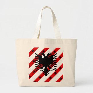 Bolsa Tote Grande Bandeira albanesa das listras