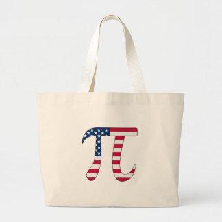 Bolsa Tote Grande Bandeira americana do dia do Pi, símbolo do pi