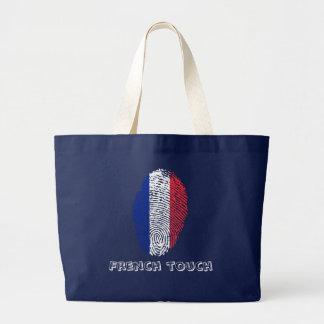 Bolsa Tote Grande Bandeira da impressão digital do toque do francês