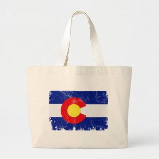 Bolsa Tote Grande Bandeira de Colorado afligida