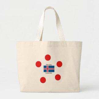 Bolsa Tote Grande Bandeira de Islândia e design islandês da língua