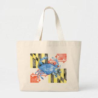 Bolsa Tote Grande Bandeira de maryland da aguarela e caranguejo azul