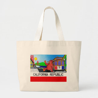 Bolsa Tote Grande Bandeira do urso de San Francisco Califórnia