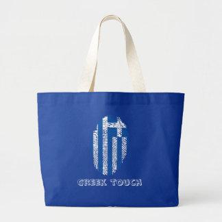 Bolsa Tote Grande Bandeira grega da impressão digital do toque