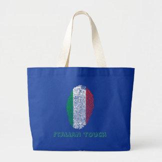 Bolsa Tote Grande Bandeira italiana da impressão digital do toque