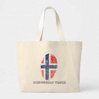 Bolsa Tote Grande Bandeira norueguesa da impressão digital do toque