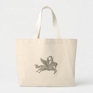 Bolsa Tote Grande Bellerophon que monta Pegasus que guardara o