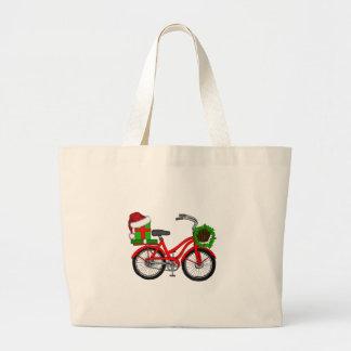 Bolsa Tote Grande bicicleta do xmas