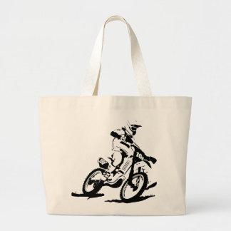 Bolsa Tote Grande Bicicleta e cavaleiro simples de Motorcross