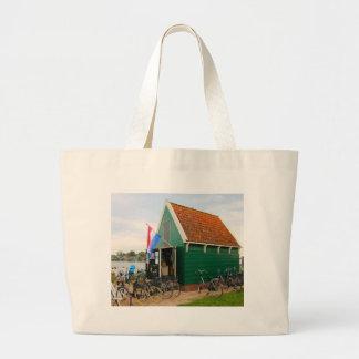 Bolsa Tote Grande Bicicletas, vila holandesa do moinho de vento,