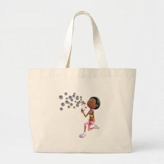 Bolsa Tote Grande Bolhas de sopro da menina do afro-americano dos