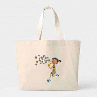 Bolsa Tote Grande Bolhas de sopro da menina dos desenhos animados