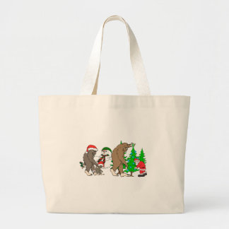 Bolsa Tote Grande Boneco de neve do papai noel de Bigfoot