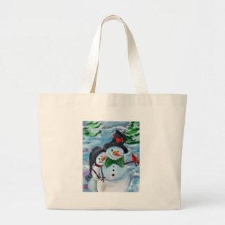 Bolsa Tote Grande Bonecos de neve de visita cardinais