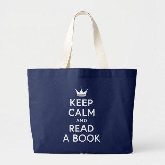 Bolsa Tote Grande Bookish mantenha a calma e leia uma sacola do