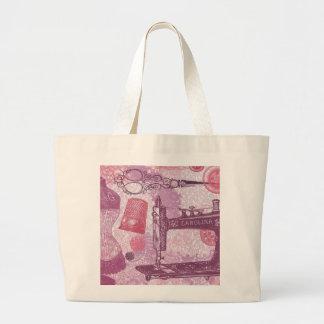 Bolsa Tote Grande Botões, tesouras e sacola do tecido |