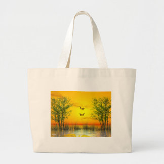 Bolsa Tote Grande Butterlflies pelo por do sol - 3D rendem
