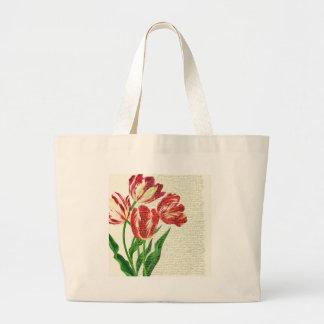 Bolsa Tote Grande Caligrafia vermelha das tulipas