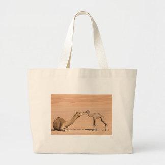 Bolsa Tote Grande Camelo do bebê e sua mãe