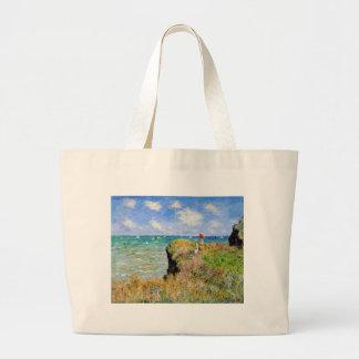 Bolsa Tote Grande Caminhada de Clifftop em Pourville - Claude Monet