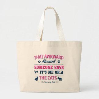 Bolsa Tote Grande Camiseta do amante do gato