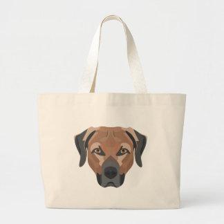 Bolsa Tote Grande Cão Brown Labrador da ilustração
