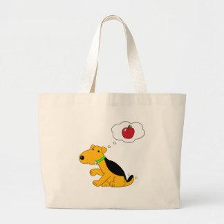 Bolsa Tote Grande Cão de Airedale Terrier dos desenhos animados que