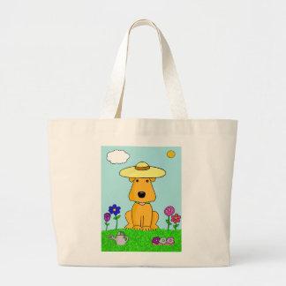Bolsa Tote Grande Cão de Airedale Terrier na sacola do jardim