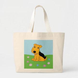 Bolsa Tote Grande Cão de filhote de cachorro de Airedale do smiley