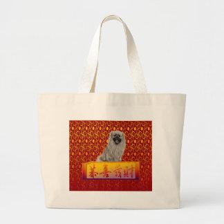 Bolsa Tote Grande Cão de Pekingese no ano novo chinês feliz