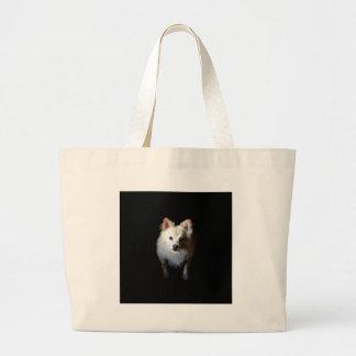 Bolsa Tote Grande Cão de Pomeranian na obscuridade