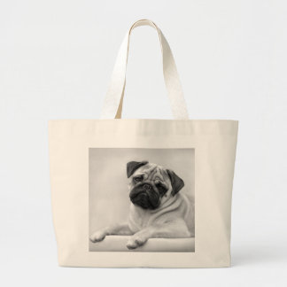Bolsa Tote Grande Cão do Pug da jovem corça, preto e branco