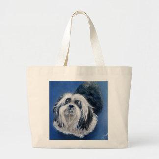 Bolsa Tote Grande Cão pequeno brincalhão preto e branco